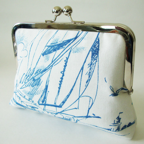 Navigating the Seas- Luxurious Clutch Lined in Silk