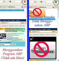 Halaman dengan aplikasi Adblock (kiri) dan normal (kanan, ada iklan)