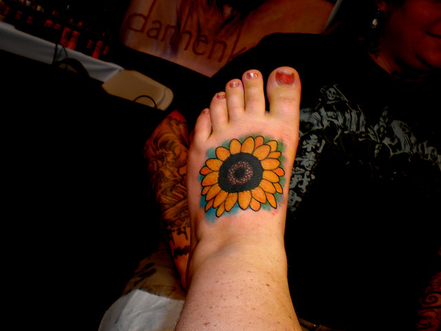 Sunflower Tattoo At Boston Tattoo Convention. Boston Tattoo Convention