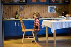 Bryn helps arrange furniture