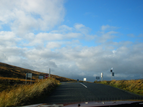 On our way from Bray to Naas - ugly new road signs @ Sally Gap!