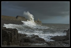 PORTHCAWL STORM (IMAGES OF WALES.... (TIMWOOD)) Tags: sea lighthouse storm water wall southwales wales coast big dangerous rocks lashes harbour sony wave seawall rough alpha ogwr bridgend porthcawl highwinds a700 pgers bridgendcounty