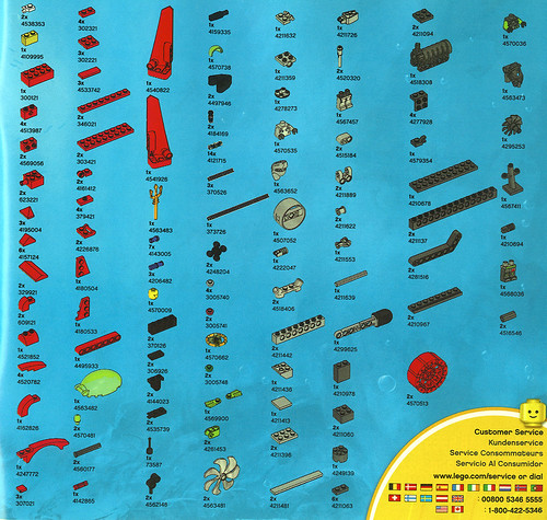 Parts/Pieces Listing for 2010 LEGO 8060 Atlantis Typhoon Turbo Sub