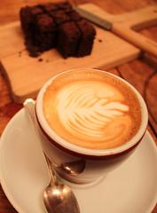 coffee & cake (blackscoota) Tags: london coffee cake cafe shoreditch brownie latte leilasshop