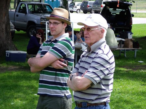 My grandfather and my husband. You can kinda see me in the back. (pics my cousin took at family reunion)
