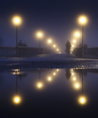 Skeppsholm Bridge (Hannes R) Tags: street bridge light people mist blur reflection water lamp bike bicycle fog night puddle lights streetlight sweden stockholm streetlights motionblur lamps skeppsholmen skeppsholmsbron