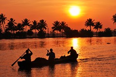sunset in the backwaters  Kerala South India (marinfinito) Tags: sunset india boat asia kerala fishermans backwaters southindia colorphotoaward