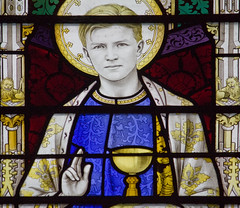 Detail of St John's face (Lawrence OP) Tags: windows church glass abbey saint stjohn stained chalice downside evangelist apostle ladychapel comper