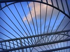Heaven's Gate (Non Paratus) Tags: bridge blue sky lines metal clouds la losangeles steel curves angles losfeliz atwatervillage canonpowershota570
