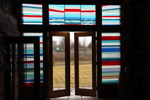 The stain glass windows at Closson Chase Vineyards in Prince Edward County wine region Ontario