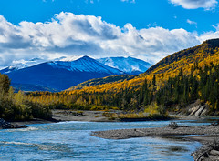 Smoky River, Mount Stearn 2 (martincarlisle) Tags: smokyriver mountstearn grandecache alberta canadianrockies rockymountains rockies canada rivers mountains sky clouds trees leaves bush autumn fall highway40 sonycameras sigmalenses captureonepro10 niksoftware colourefex nwn