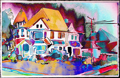 Old Victorian near Stephens College half-sheet watercolor (Shitao  ) Tags: watercolor painting photography poetry pastel columbia missouri columbiamissouri pastelpainting sharingart awardtree struckbyrainbow magicunicornverybest
