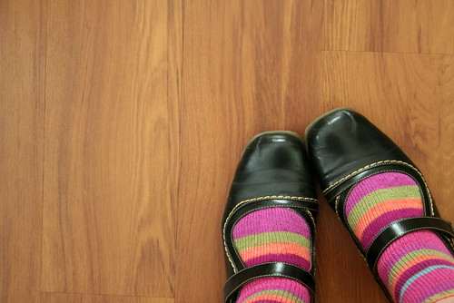 stripy socks and mary janes