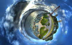 Embarcadero 5 (Candace Van Assche) Tags: ocean park blue sky sandiego candace projection embarcadero hdr stereographic tinyplanet catchycolorblue