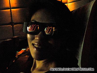 Rachel in 3D glasses