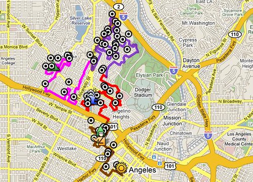 Day 1 map of The Big Parade LA