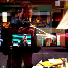 Multi-Me Too (Lanvacette) Tags: street city portrait urban selfportrait abstract streets colour window self scotland glasgow streetphotography reflect