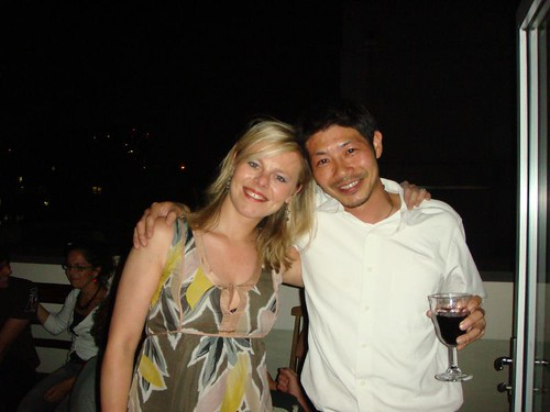 Celine (Belgium) and my host Maulung at the penthouse party in Manhattan.
