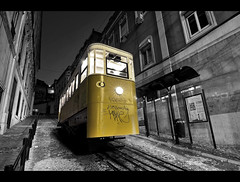 The Journey Begins Here (edmundlwk) Tags: portugal station yellow night lift lisboa lisbon elevator graduation wideangle explore flare frontpage f28 upwards bairroalto restauradoressquare elevadordaglria canon450d funicuar rebelxsi tokina1116mm edmundlim