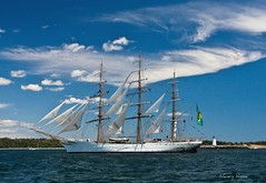 Tall Ships and fun skies (Nancy Rose) Tags: ocean blue brazil lighthouse clouds novascotia halifax tallships whie paradeofsail cisnebranco