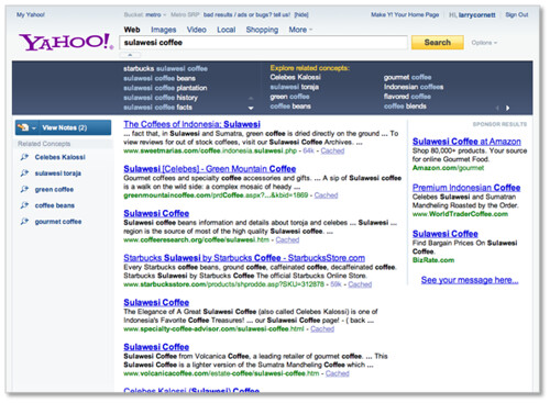 New Yahoo! Search Page - Search Assistance