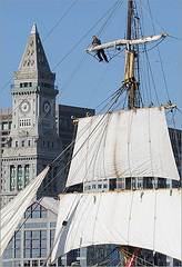 Sailor high in the rigging of the Picton Castle