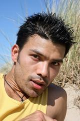 Umesh # 2 Up Close (just.Luc) Tags: man male homme hombre uomo asian belgian nepalese portrait handsome young jeune jong portret face gezicht visage ritratto retrato stubble dunes stoppels porträt
