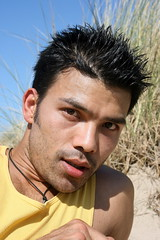 Umesh #2 Up Close (just.Luc) Tags: man male homme hombre uomo asian belgian nepalese portrait handsome young jeune jong portret face gezicht visage ritratto retrato stubble dunes stoppels