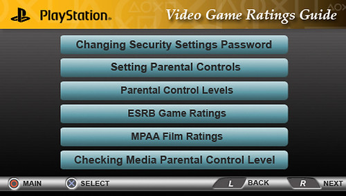 ESRB Parenta Controls Menu