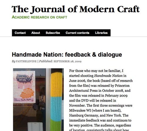 My first blog post on the Journal of Modern Craft