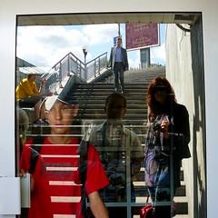 (blincom) Tags: door city boy portrait people reflection glass lines stairs self square eingang son ukraine treppe exit kiev sq spiegelung multi stepps kiew linien 500x500 blincom