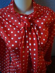 Vintage Red Polka Dot Secretary Blouse (vintage-13) Tags: red shirt vintage 60s forsale polka dot retro blouse 80s 70s secretary necktie buttonup tieneck judybond lyzzieetsycom vintagebylyzzie