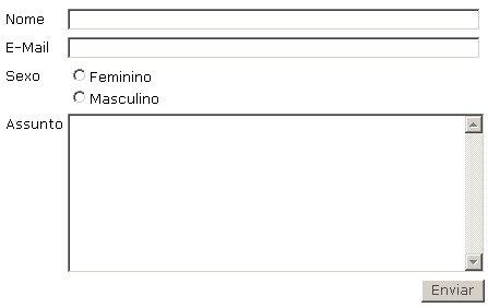 Exemplo de formulário de contato.