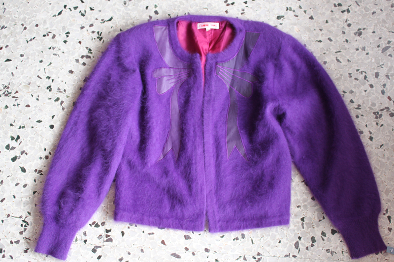 fluffy purple 'orange sun' cardi $8