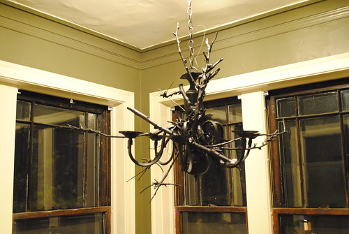 Spray Painted Black Chandelier - Halloween Decorations