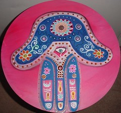 Hamsa Accent Table (Rick Cheadle Art and Designs) Tags: blue red brown white abstract black flower color colour green art love floral yellow illustration outside design cool whimsy acrylic hand purple graphic dragonfly furniture folk circles painted funky exotic handpainted tables oil naive spiritual decor paisley eclectic embossed acrylics whimsical treeoflife ecclectic hamsa abstrct desibn rickcheadle anniesloanchalkpaint shabbyfrench