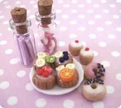 POLYMER CLAY (tinysandtea) Tags: orange cakes cane fruit cupcakes lemon strawberry cookie heart plate polymerclay fimo sweets sculpey kiwi tart liquid tlc