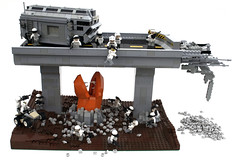 Rupture at Highway 218 (1) (Chase Lewis [Vid]) Tags: monster army highway lego apocalypse freeway scifi worm diorama moc brickarms foitsop apocalego
