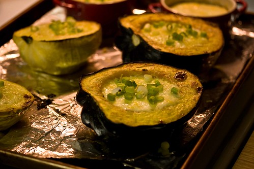 acorn squash stuffed with corn pudding
