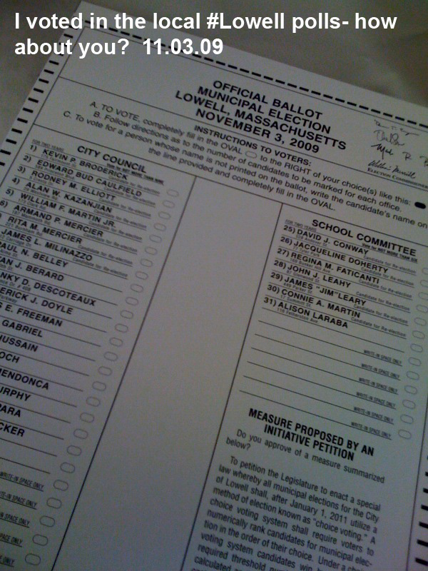 Lowell Voting Ballot