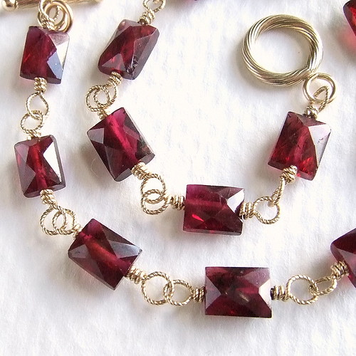 Petite Garnet Bracelet in Gold by Lumina Jewelry