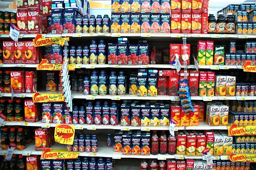 Stocks of just fruit juice in a store, Puerto Vallarta, Jalisco, Mexico by Wonderlane