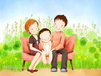 Lovely_illustration_of_Happy_family_on_sofa_wallcoo.com