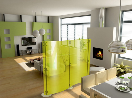 Modern Room's Dividers from Paxton and Fluowall