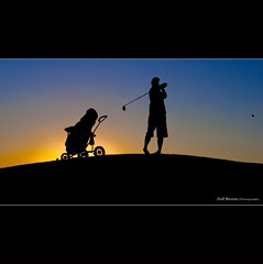 Tee Off Silhouette (Cass n Dan) Tags: sunset shadow sky sun dan grass silhouette sport night ball dark golf evening weird flying scary dusk daniel hill husband swing golfcourse driver bluehour tee golfball golfer in