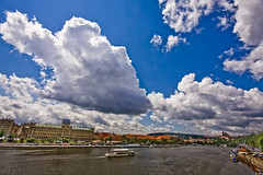 Clouds over Vitava (justfordream) Tags: sky water clouds river wasser prague himmel wolken prag praha hradschin fluss burg prager moldau vitava