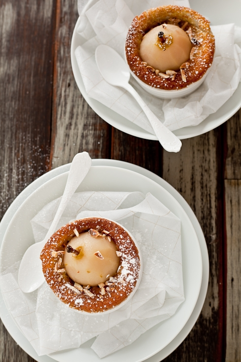 Poached Pear Almond Souffle Cakes