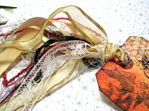 Seasons Greeting Gold Tag :: Ribbons and Yarn