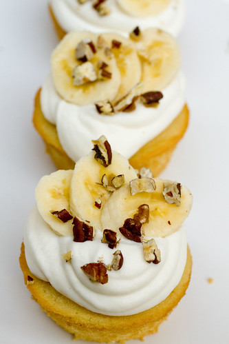 Maple Cupcakes with Whipped Cream, Bananas, and Pecans 2