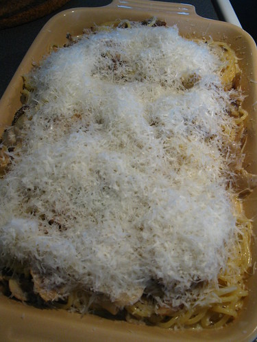 Before baking Spaghetti Tetrazzini